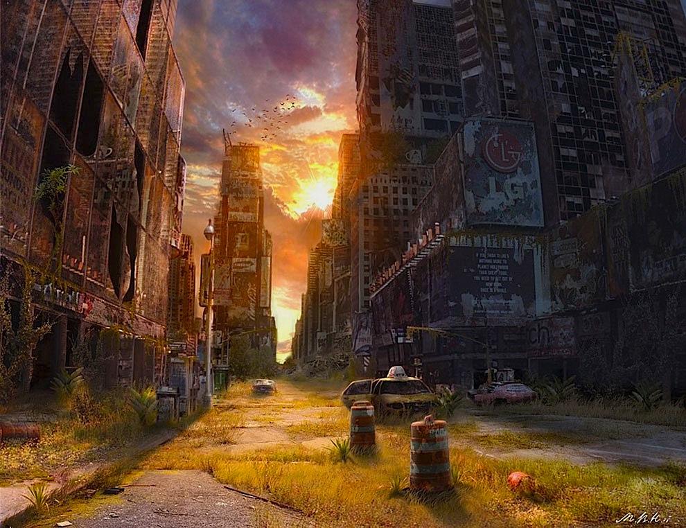 Apocalypse City Fire Post-Apocalyptic Illustration