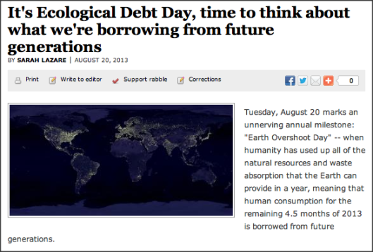 Ecological Debt Day was this past Tuesday