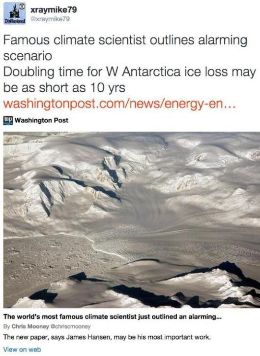 xraymike79 on Twitter- -Famous climate scientist outlines alarming scenario Doubling time for W Antarctica ice loss may be as short as 10 yrs http---t co-bbN0OWBq81-